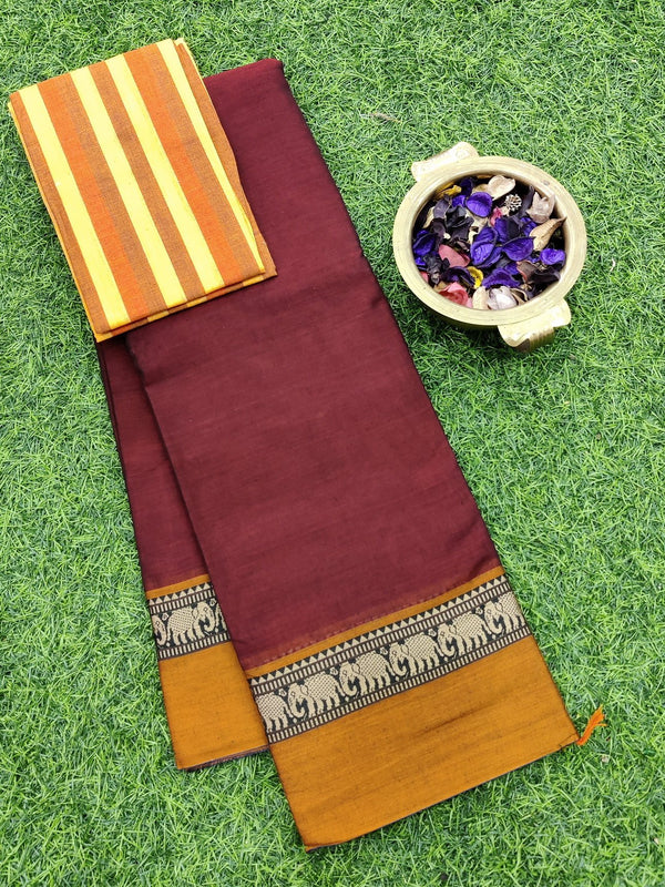 Narayanpet cotton saree maroon and mustard with cotton blouse