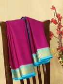 Pure Mysore Crepe silk saree purple and light blue with zari woven paisley butta border