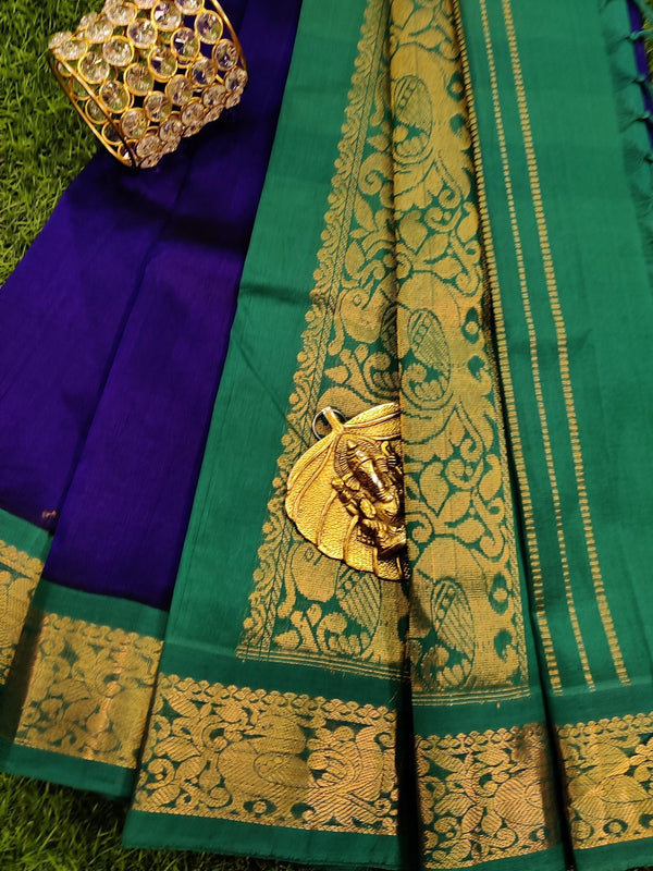 Silk cotton saree blue and teal green with rich korvai zari border