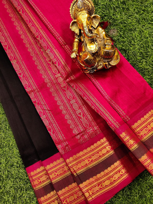 Silk cotton saree black and pink with rich korvai zari border