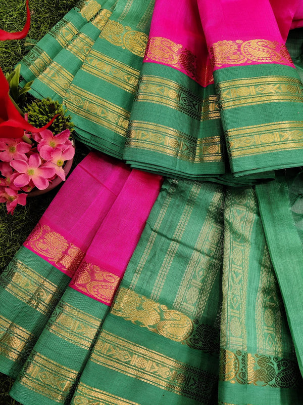 Silk cotton saree candy pink and teal with rich korvai zari border