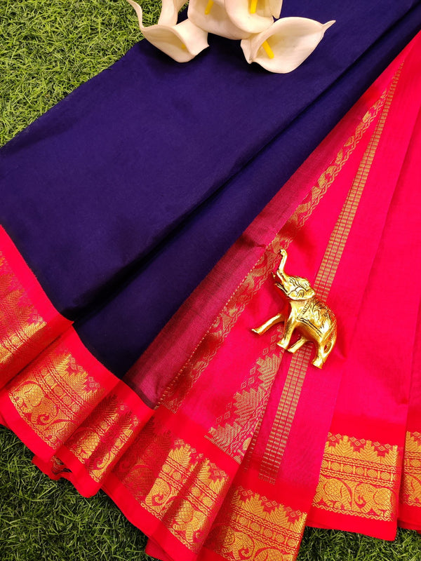 Silk cotton saree blue and orange with rich korvai zari border
