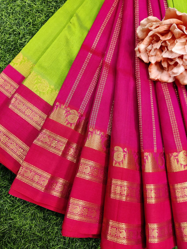 Silk cotton saree light green and pink with rich korvai zari border