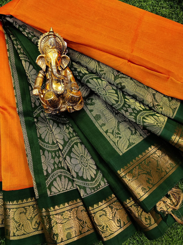 Silk cotton saree orange and green with rich korvai zari border