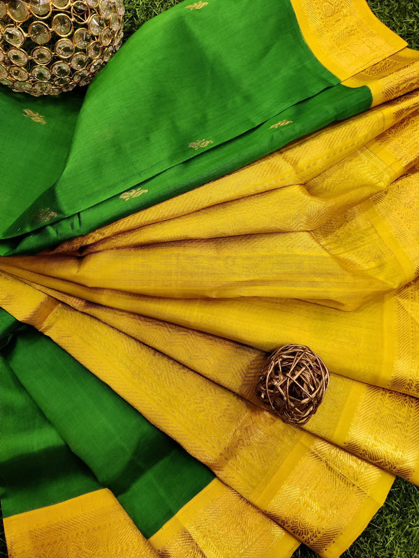 Silk cotton saree light green and yellow with rich korvai zari border
