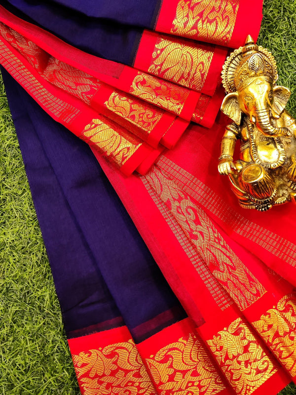 Silk cotton saree blue and reddish pink with rich korvai zari border