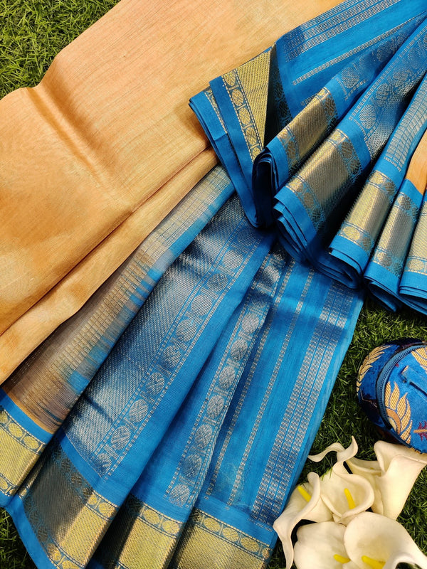 Silk cotton saree sandal and blue with rich korvai zari border