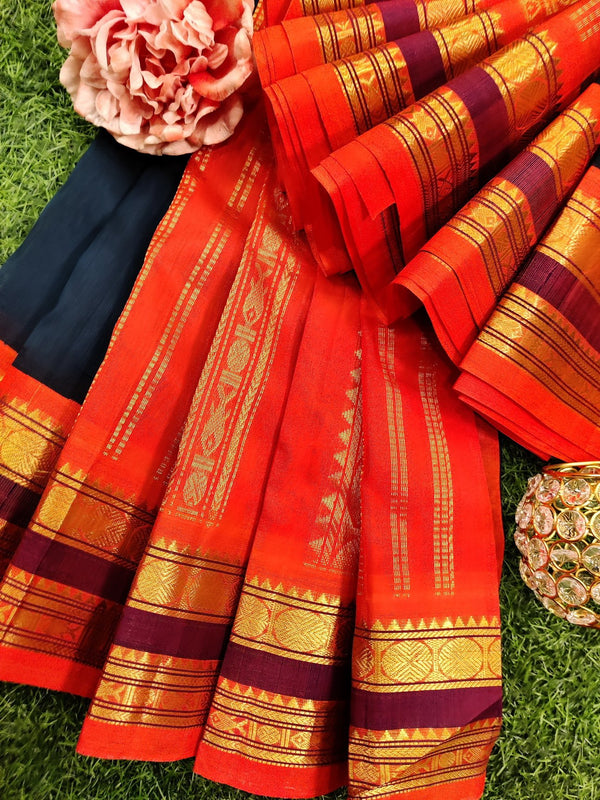 Silk cotton saree green and orange with rich korvai zari border
