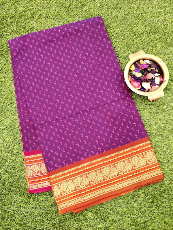 Chettinad cotton saree wine shade and maroon with hand block prints without blouse