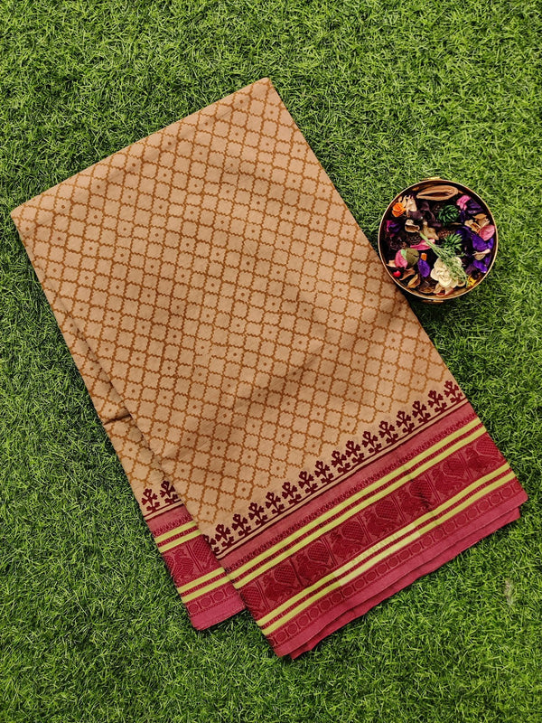 Chettinad cotton saree beige and red with hand block prints without blouse