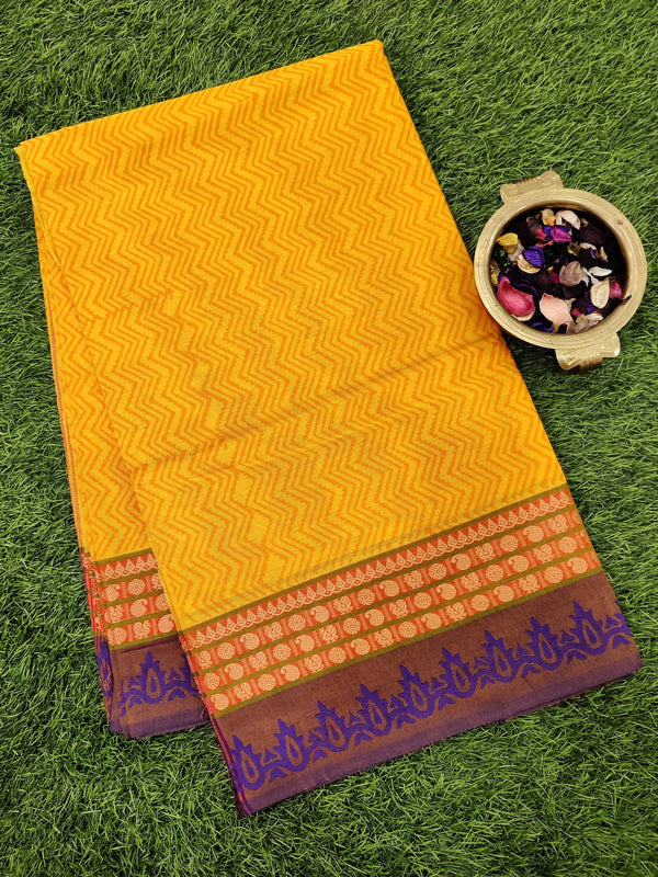 Chettinad cotton saree yellow and blue with hand block prints without blouse