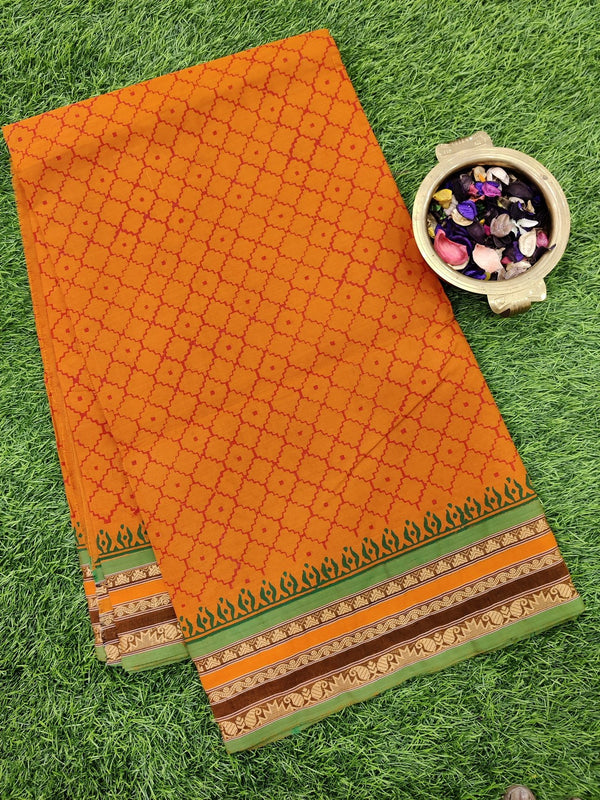 Chettinad cotton saree rustic orange and green with hand block prints without blouse