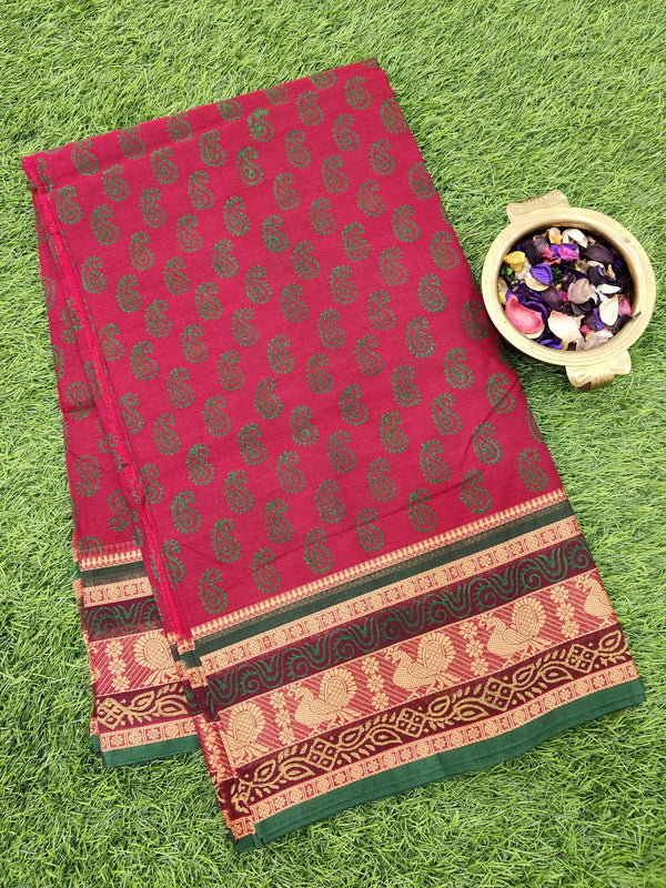 Chettinad cotton saree maroon and green with hand block prints without blouse