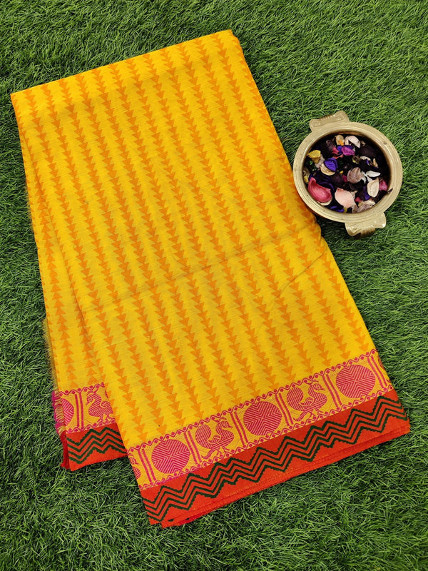 Chettinad cotton saree yellow and orange with hand block prints without blouse