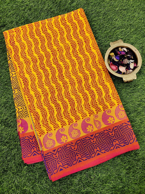 Chettinad cotton saree yellow and pink with hand block prints without blouse