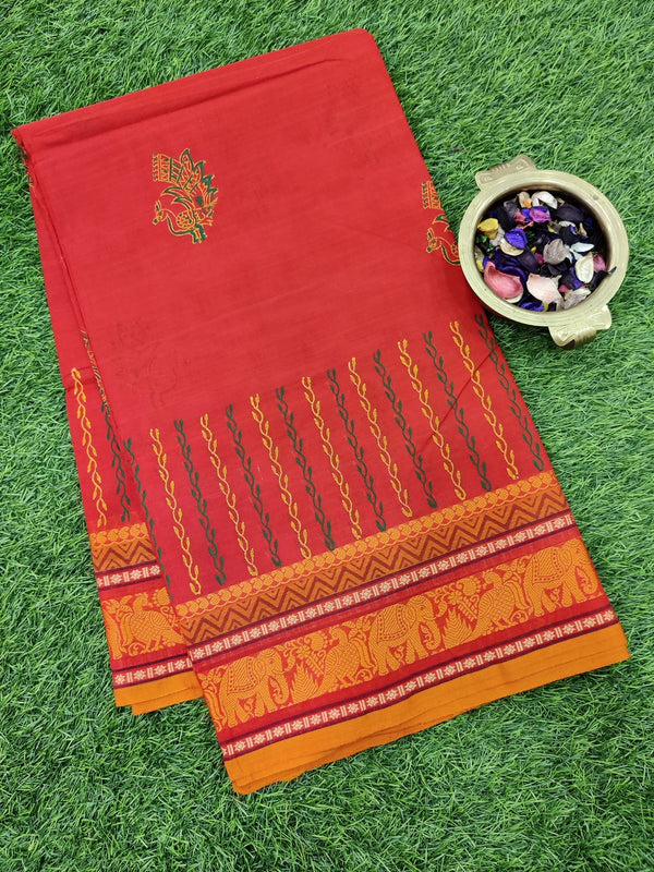 Chettinad cotton saree red and orange with hand block prints without blouse