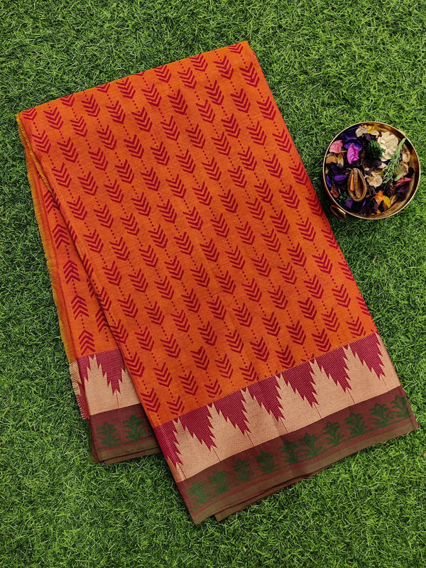 Chettinad cotton saree dual shade of rustic orange with hand block prints without blouse