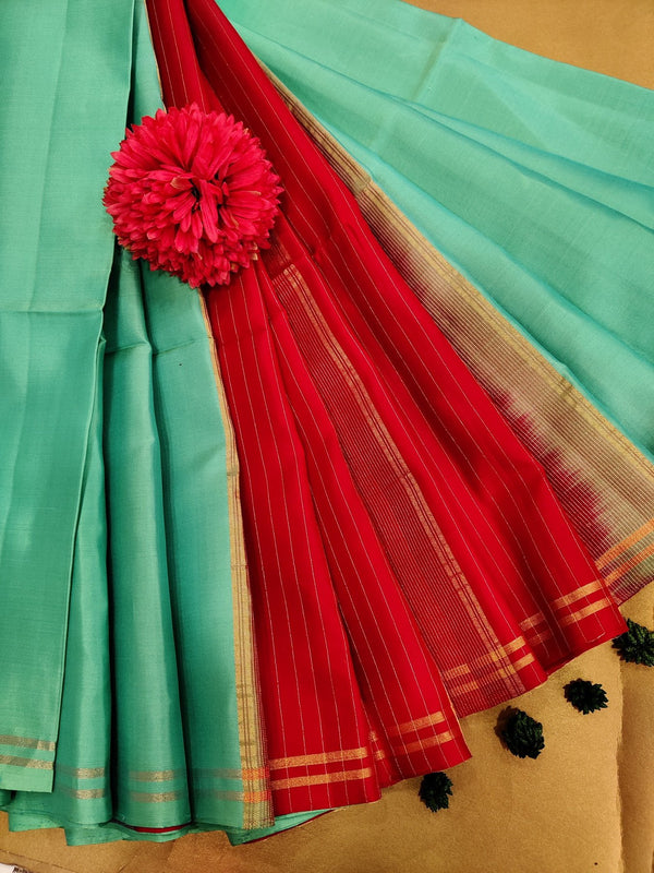 Pure soft silk saree teal and red with plain body and zari woven pallu