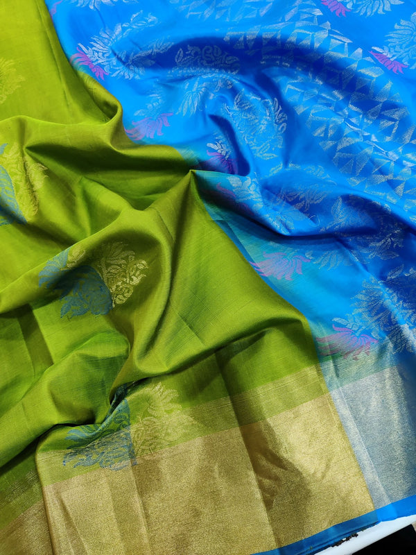 Pure soft silk saree green and blue with thread and zari woven buttas with zari border