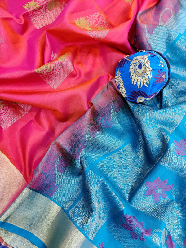 Pure soft silk saree dual shade of pink and blue with thread and zari woven buttas with zari border