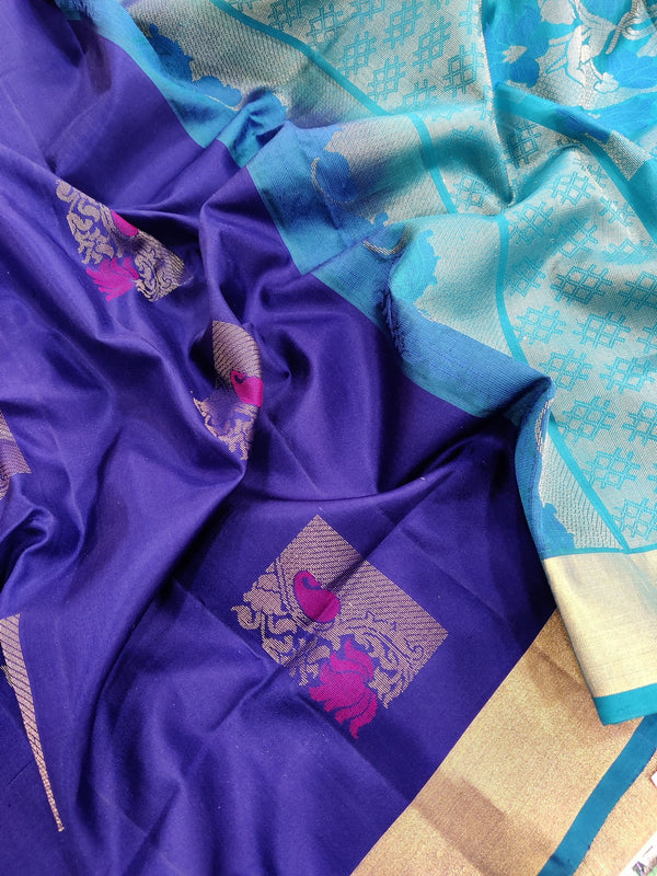 Pure soft silk saree blue and peacock blue with thread and zari woven buttas with zari border