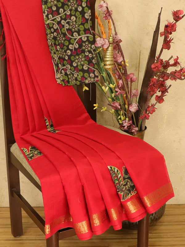 Silk cotton saree red with kalamkari applique work and zari woven border