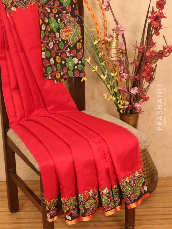 Silk cotton saree red with kalamkari applique work and piping zari border
