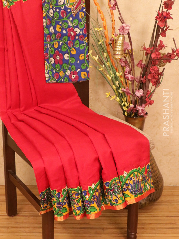 Silk cotton saree red and mustard with kalamkari applique work and piping zari border