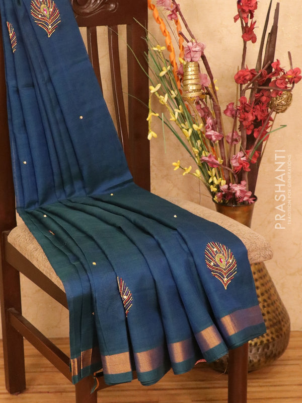 Silk cotton saree dual shade of peacock blue with embroidery work and zari border