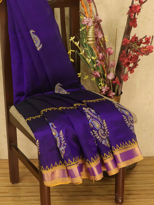 Silk cotton block printed saree blue and mustard yellow with embroidery work and zari border for Rs.Rs. 4890.00 | by Prashanti Sarees