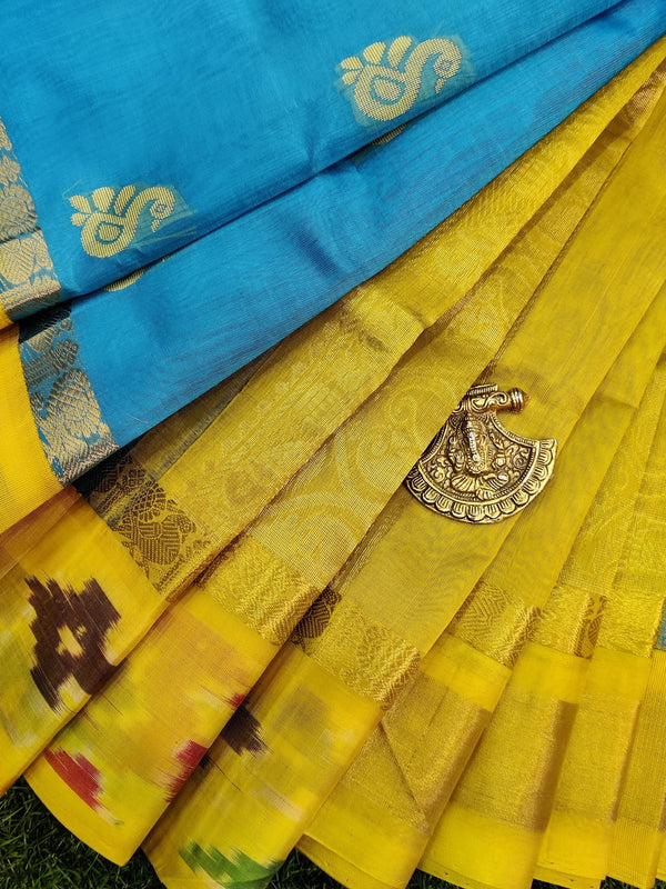 Kuppadam silk cotton saree light blue and lime yellow with thread & zari woven buttas and ikat woven border