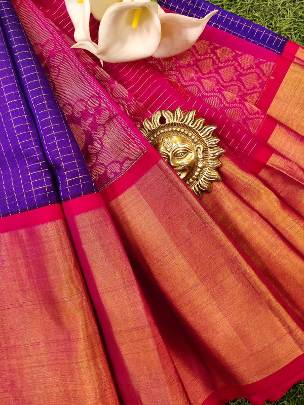 Kuppadam silk cotton saree blue and red with zari checks and rich zari woven border