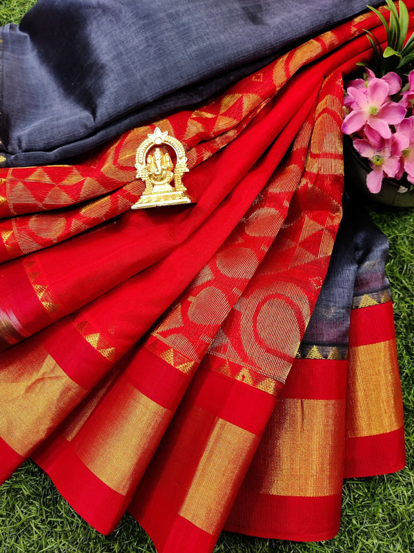Kuppadam silk cotton saree grey and red with plain body and ikat woven border