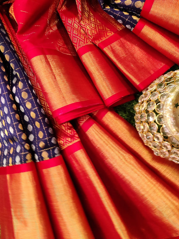 Kuppadam silk cotton saree navy blue and red with 1000 buttas and rich zari woven border
