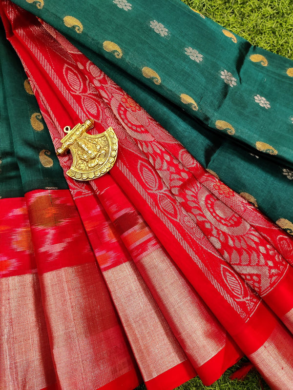 Kuppadam silk cotton saree peacock green and red with zari woven buttas and ikat zari border