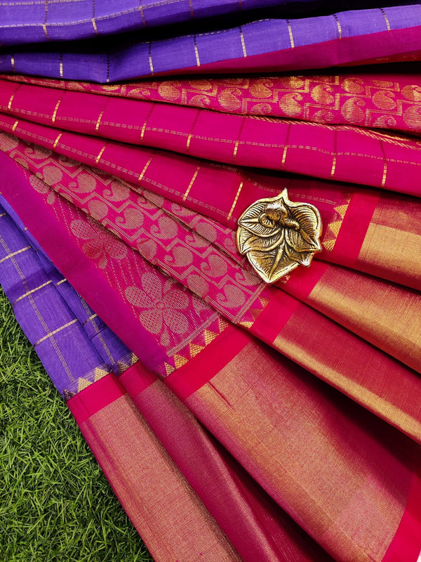 Kuppadam silk cotton saree dark lavander and pink with zari checks and rich zari border