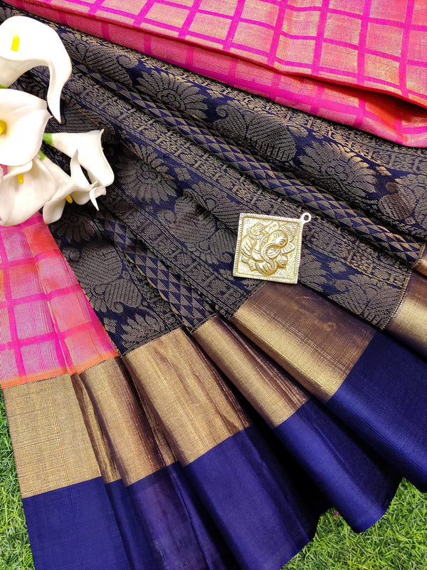 Kuppadam silk cotton saree pink and blue with zari woven buttas and zari border