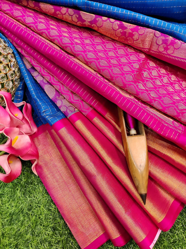 Kuppadam silk cotton saree blue and pink with zari checks and rich zari border