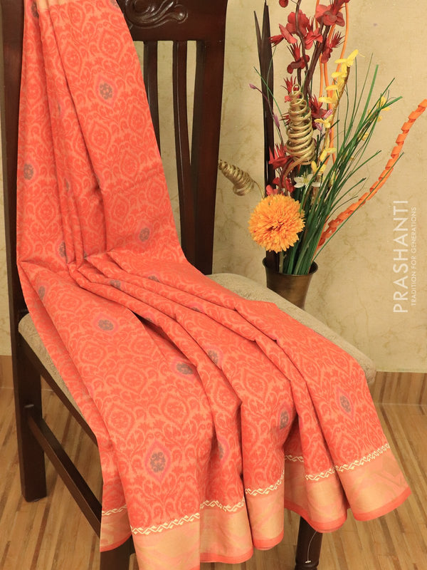 Chanderi cotton saree peach with allover prints and thread woven border