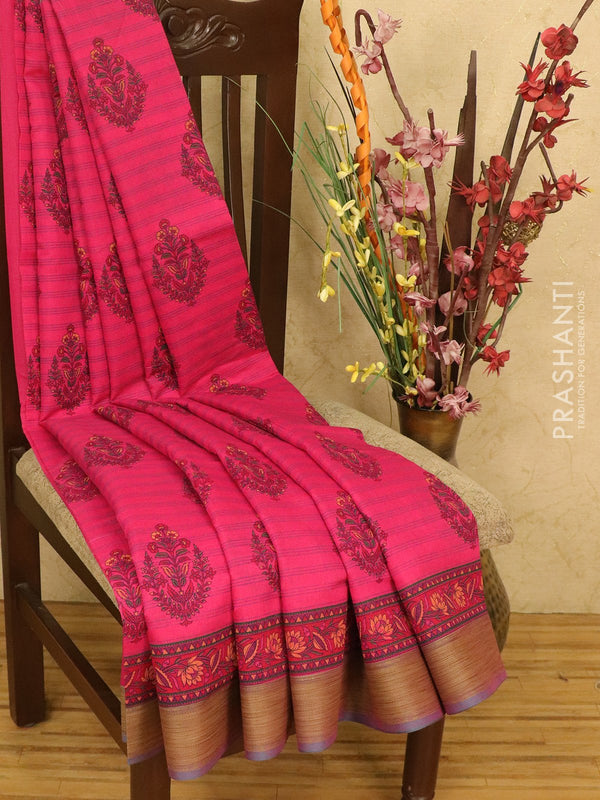 Chanderi cotton saree dark pink with floral prints and simple thread border