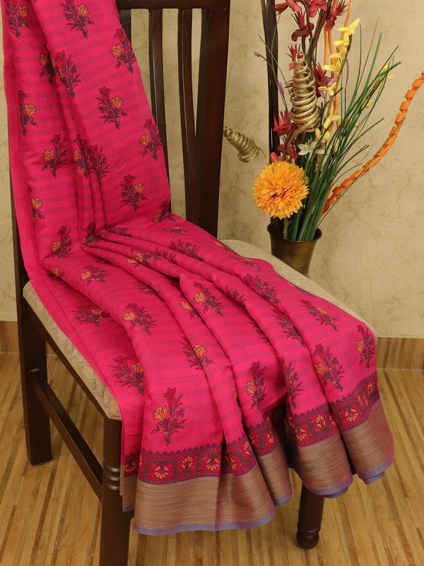 Chanderi cotton saree dark pink with allover floral prints and simple border