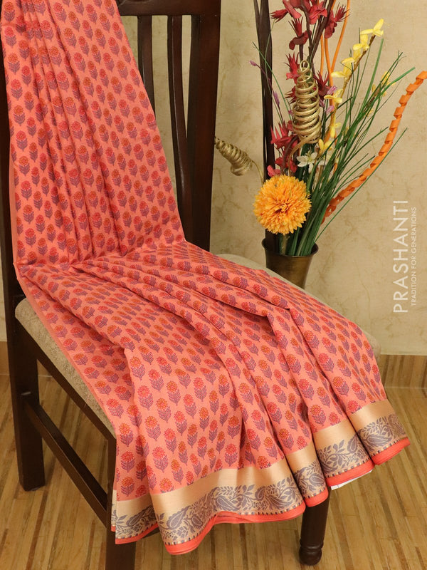 Chanderi cotton saree pink shade with allover floral prints and thread woven border