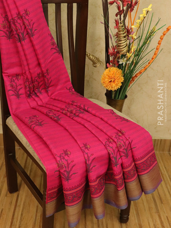 Chanderi cotton saree dark magenta pink with allover floral prints and thread woven border