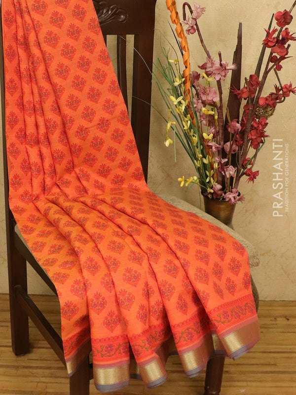 Chanderi cotton saree orange and blue with allover prints and maheshwari border