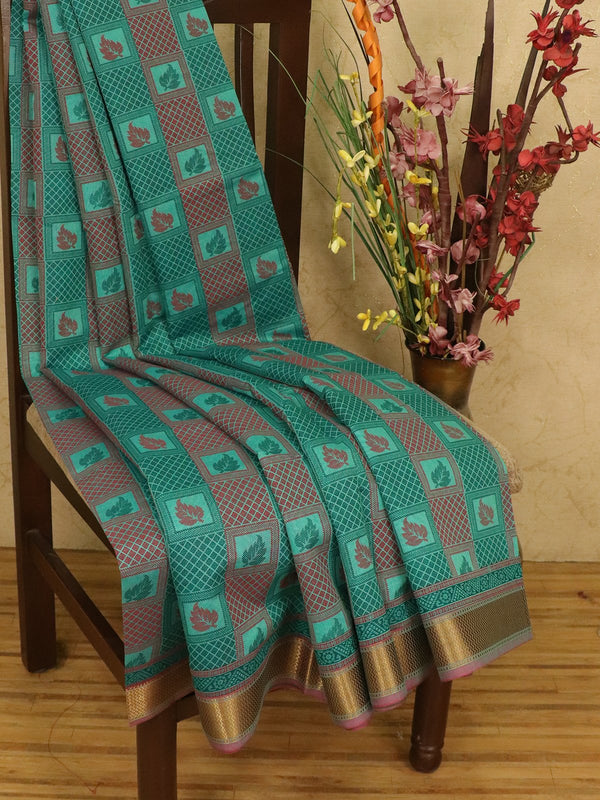 Chanderi cotton saree green with allover prints and simple zari border