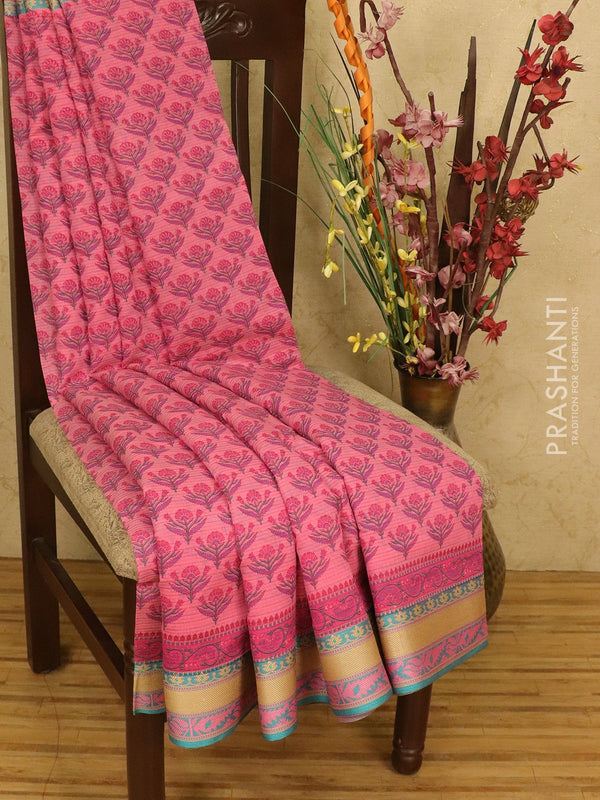 Chanderi cotton saree pink and blue with allover prints and thread woven border