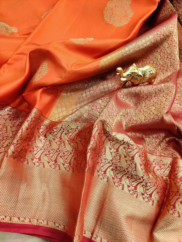 Pure kanchivaram silk saree orange and red with zari woven buttas and rich zari border
