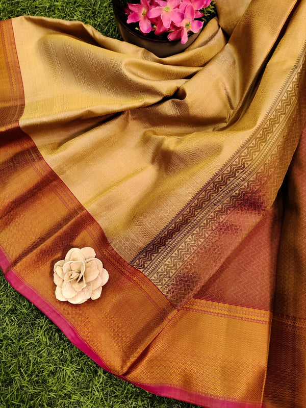 Pure kanchivaram silk saree beige and pink with allover self emboss and thread woven border