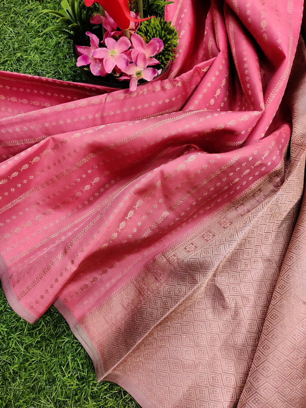 Pure kanchivaram silk saree pink and pastel shade with allover gold and copper zari lines in borderless style