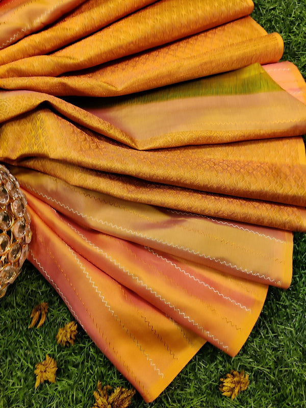 Pure kanchivaram silk saree yellow shade and teal with allover copper and silver zari lines in borderless style